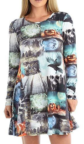 FASHION FAIRIES Damenkleid, langärmelig, Rosenkerze, Halloween-Aufdruck, ausgestellt, Swing-Kleid Gr. 38-40, Krähen-Kürbis-Print