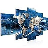Bilder Weltkarte World Map Wandbild 200 x 100 cm Vlies - Leinwand Bild XXL Format Wandbilder Wohnzimmer Wohnung Deko Kunstdrucke Blau 5 Teilig - MADE IN GERMANY - Fertig zum Aufhängen 106851a