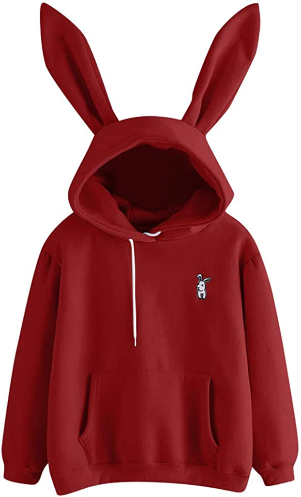 siilsaa Hoodies for Women Teen Girls Bunny Hoodie with Ears Long Sleeve Loose Pullover Tops Blouse Tunic Sweatshirts