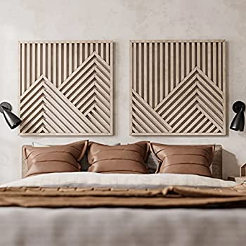 Other Furniture Mountains Wooden Wall Art Set- Large Modern Wood Wall Hangings- Set of 2 Wood Wall Arts- Modern Wood Wall Art Set