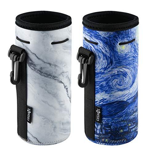 CM Pack of 2 Water Bottle Neoprene Sleeve Portable Insulator Bottle Cover Drawstring Insulator 18 Oz 20 Oz Bottle Holder (Marble & Van Gogh Painting Patterns (2 pcs))