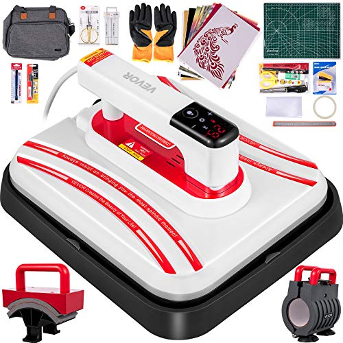 VEVOR Portable Heat Press 12x10 Inch Easy Press Multifunction Complete Tool Carrying Case Automatic Heat Press Machine for T Shirts Shoes Bags Hats Mugs and Small HTV Vinyl Projects(Red)