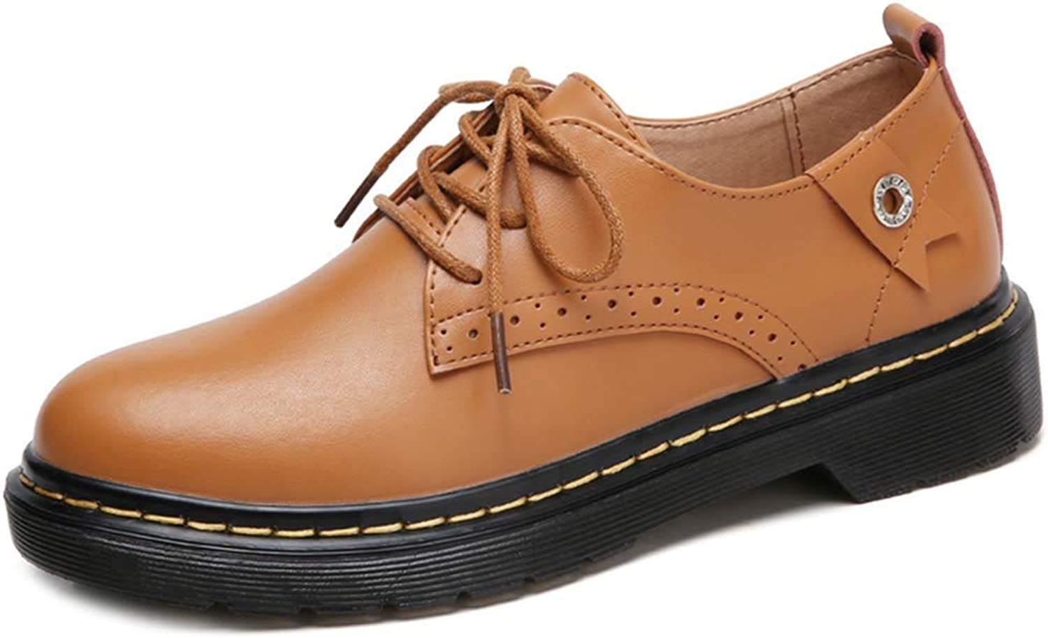 Beautiful - Fashion Women's Classic Wingtip Oxford shoes Vintage Lace up Flat Low Heel Casual Dress Oxfords Brogues Brown