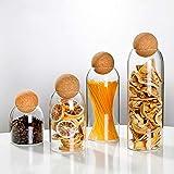 Lead-free round cork glass bottle sealed jar nut storage jar coffee bean jar round transparent 4-piece set