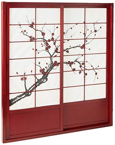 Oriental Furniture 7 ft. Tall Cherry Blossom Shoji Sliding Door Kit - Rosewood