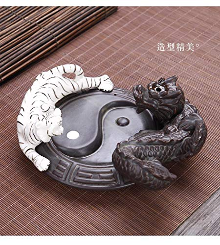 KYIS Ceramic Backflow Incense Burner Dragon Incense Cone Sticks Holder Waterfall Burner for Aromatherapy Ornament Home Home Office Yoga (Dragon and Tiger)
