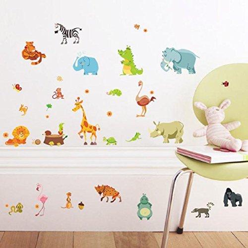 Vovotrade Forêt Animaux Elephant Squirrel Kindergarten Stickers muraux enfants Chambre à coucher Home Decor bricolage