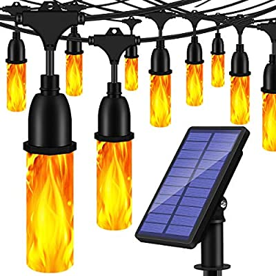 TomCare Solar Lights Flickering Flame Outdoor Solar String Lights 27 Ft USB Charged Waterproof Decorative Hanging Patio Lights Outside Lights LED String Lighting for Patio Garden Backyard
