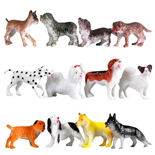 STOBOK Juego de 12 figuras de perro realistas de plástico para cachorros