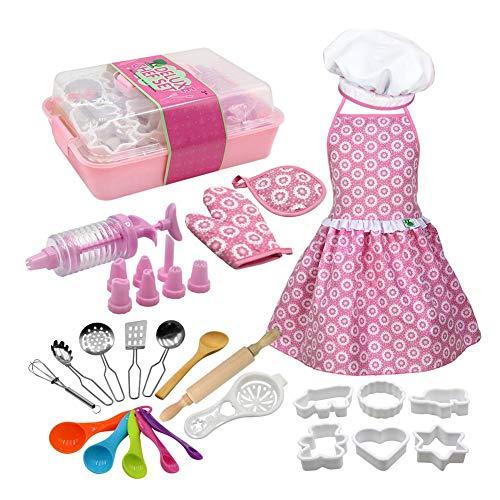 Feel-ling Kinder Backkleidung Form Werkzeugset, Küche Rollenspiel Set, Kuchen Backen Kochkleidung Schürze Küchengeschirr