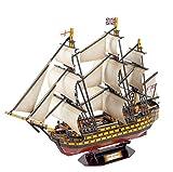 GEEFSU-Reino Unido Royal Victory Modelo de Barco Bloques de Construcción de Rompecabezas 3D Juguetes Hechos a Mano Decoración Artesanal de Madera