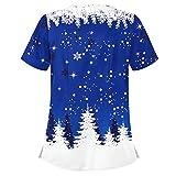Visky Camisas de Navidad para mujer, blusa de manga corta, Acción de Gracias, muñeco de nieve de Navidad, estampado de calabaza, ropa de trabajo, uniforme