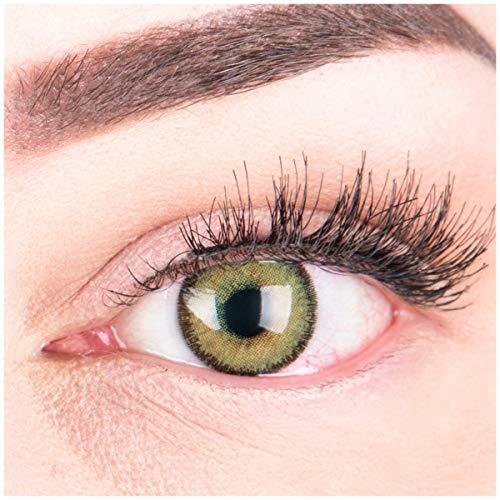 GLAMLENS lentillas de colores verdes Mirel Green + contenedor. 1 par (2 piezas) - 90 Días - Sin Graduación - 0.00 dioptrías - blandos - Lentes de contacto verde de hidrogel de silicona