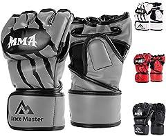 Brace Master MMA Gloves Guantes UFC Guantes de Boxeo para Hombres Mujeres Cuero Más Acolchado Saco de Boxeo sin Dedos Guantes para Kickboxing, Sparring, Muay Thai y Heavy Bag (Gris S)