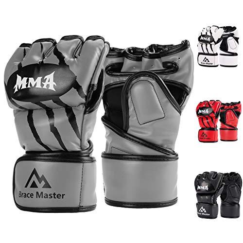 Brace Master Gants MMA Gants UFC pour Hommes et Femmes, Gants pour l'entrainement en Cuir sans Doigts,Gants de Protection Convient Combats, Muay Thai, Boxe, Arts Martial Mixte (Small, Gris)