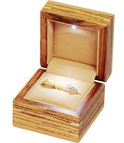 Insun Handarbeit Holz Ringschachtel mit LED Licht Manschettenknöpfe Kasten Schmuckkästen für Ring Halskette Anhänger mit Hellbraun Samteinsatz