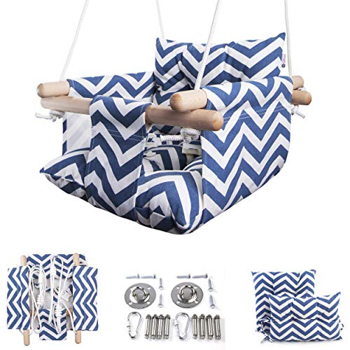 Cateam Canvas Baby Swing Blue - Wooden Hanging Swing Seat Chair for Baby with Safety Belt and mounting Hardware. Baby Hammock Chair Birthday Gift.