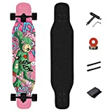 WRISCG Longboard Dancing Cruiser Drop-Through Freeride Skate Boards, 8 Capas Flexible de Arce Tabla Completa, Rodamientos ABEC-9 Alta velicidad, para Jóvenes Los Adultos Niños Principiantes,D