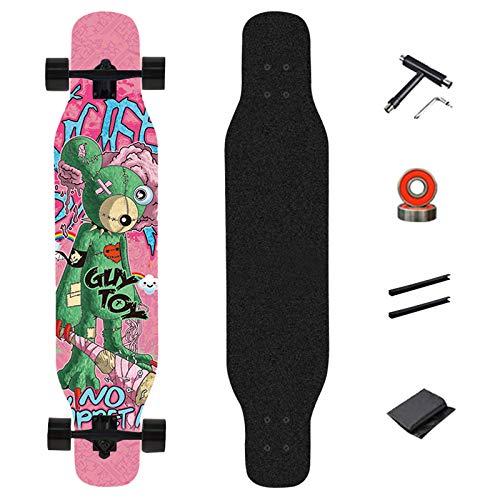 WRISCG Longboard Komplettboard 107×23cm Ahorn Dance Cruiser Skateboard, Drop-Through Freeride Skaten Boards, 8 Schichten Ahorn Board, High Speed ABEC-9 Kugellagern, für Anfänger Erwachsene Teen,D
