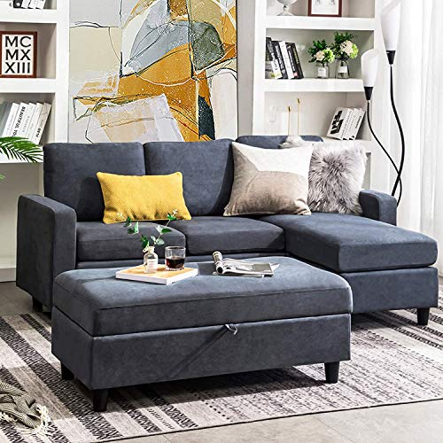 Belffin Reversible 3 Seater Sofa Couch with Ottoman Modern Fabric Couch L Shaped Sectional Sofa Set for Living Room Bluish Grey