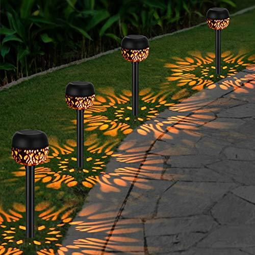 OOWOLF 4 Pack Jardín Lámpara de Camino de Paisaje, Impermeable IP65 Luces Solares Exterior Jardín LED Luz Calida, Iluminación Decorativa Solar Para Patio Césped Pasillo Terraza Camino Porche