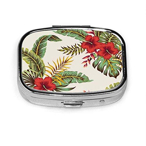Tropical Vintage Red Hibiscus Floral Verde Moda personalizada Plata Cuadrado Pastillero Medicina Tableta Titular Cartera Organizador C