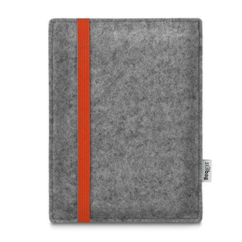 stilbag e-Reader Tasche Leon für Amazon Kindle Oasis (9. Generation) | Wollfilz hellgrau - Gummiband orange | Schutzhülle Made in Germany