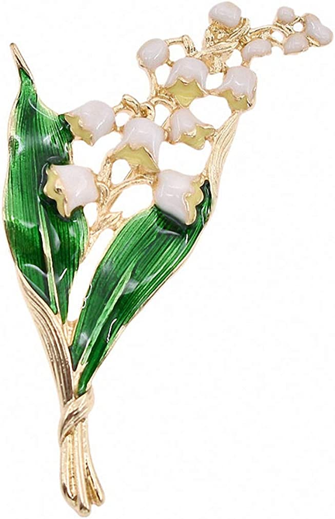 Sales for sale Jana store Winkle Alloy Enamel White Floral Lily Leaf Of Brooch Va The