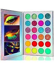 Kalolary Neon Luminous paleta cieni do powiek, 24 kolorowe cienie do powiek o wysokiej pigmentacji, matowe UV Glow i zestaw do makijażu dla kobiet
