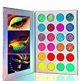 Kalolary 24 Colors High Pigmented Makeup Palette, Glow in the Dark Paint Neon Eyeshadow Glow Palette UV Glow Blacklight Matte and Glitter, for Party Cosplay Holiday Face Body Makeup Paints