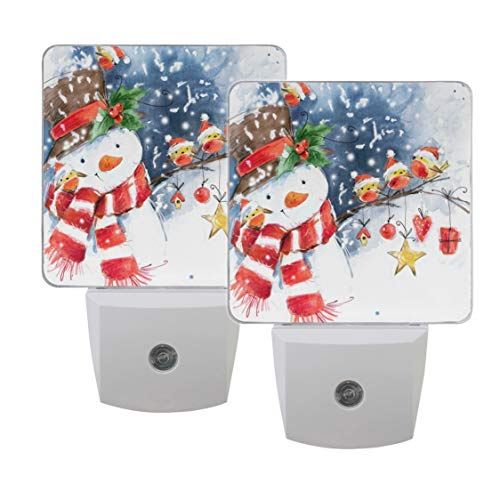 Naanle Set of 2 Watercolor Snowman Christmas Bird Snowflake Winter Auto Sensor LED Dusk to Dawn Night Light Plug in Indoor for Adults