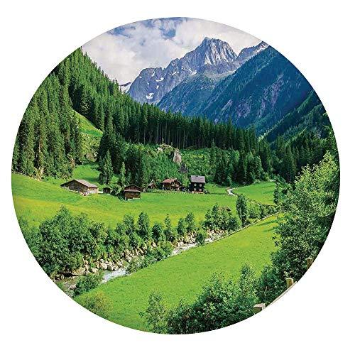 Mantel ajustable de poliéster con bordes elásticos, paisaje alpino con cabañas de prado y pinos Stream en Village View, se adapta a mesas redondas de 24 pulgadas, para comedor y fiesta, verde y blanco