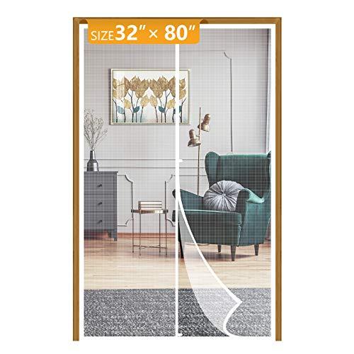 Yotache White Magnetic Screen Door Fits Door Size 32 Inch, High Density Mesh Curtain for Back Walk Through Door Size 32'W x 80'H with Windproof Hasp Design