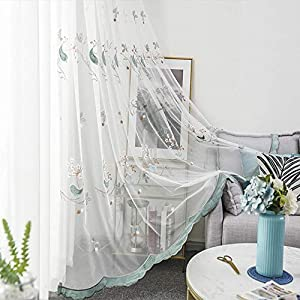 Floral Sheer Curtain Birds Rod Pocket Voile Panel for Living Room Embroidery Country Curtain Drapes Gauze for Kids Bedroom Nursery Window Treatment, 1 Panel 84 inch Length by 39 inch Width