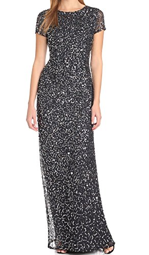 Adrianna Papell Women's Short Sleeve All Over Sequin Gown, Navy, 8
