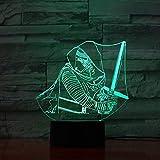 Star Sci-fi Movie Wars Darth Vader 3D Lámpara de mesilla de noche Cool Presente Niño Colorido LED Luz de noche Lámpara de mesilla de noche Holograma