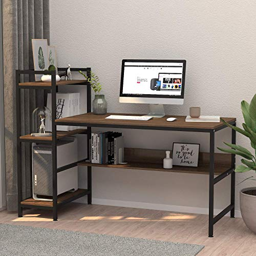Dripex Holz Schreibtisch mit Ablage Computertisch, PC-Tisch Bürotisch Officetisch Stabile Konstruktion Tisch für Home Office (136cm Braun)