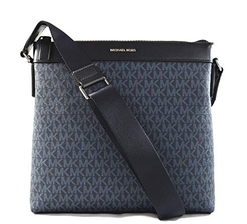 """Made of MK logo PVC with leather trims Wear crossbody or over the shoulder Top zip closure Outside 1 back full size slip pocket, inside 3 slip pockets 10.5""""L x 10""""H x 2""""D"""