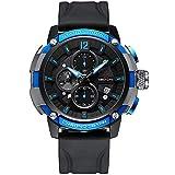 xiaoxioaguo Reloj deportivo de los hombres de la marca superior de lujo 30m impermeable luminoso azul reloj de los hombres de la moda cronógrafo reloj de cuarzo