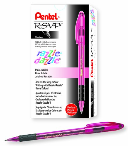 Pentel RSVP Razzle-Dazzle Ballpoint Pen Medium Line Pink Barrel Black Ink Box of 12 BK91RDP-A