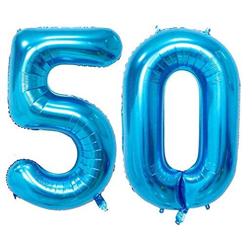 DIWULI, XXL aantal ballonnen, nummer 50, Ijsblauwe ballonnen, aantal ballonnen, folieballonnen aantal jaren, folieballonnen blauw voor 50e verjaardag, bruiloft, feest, decoratie, geschenkdecoratie