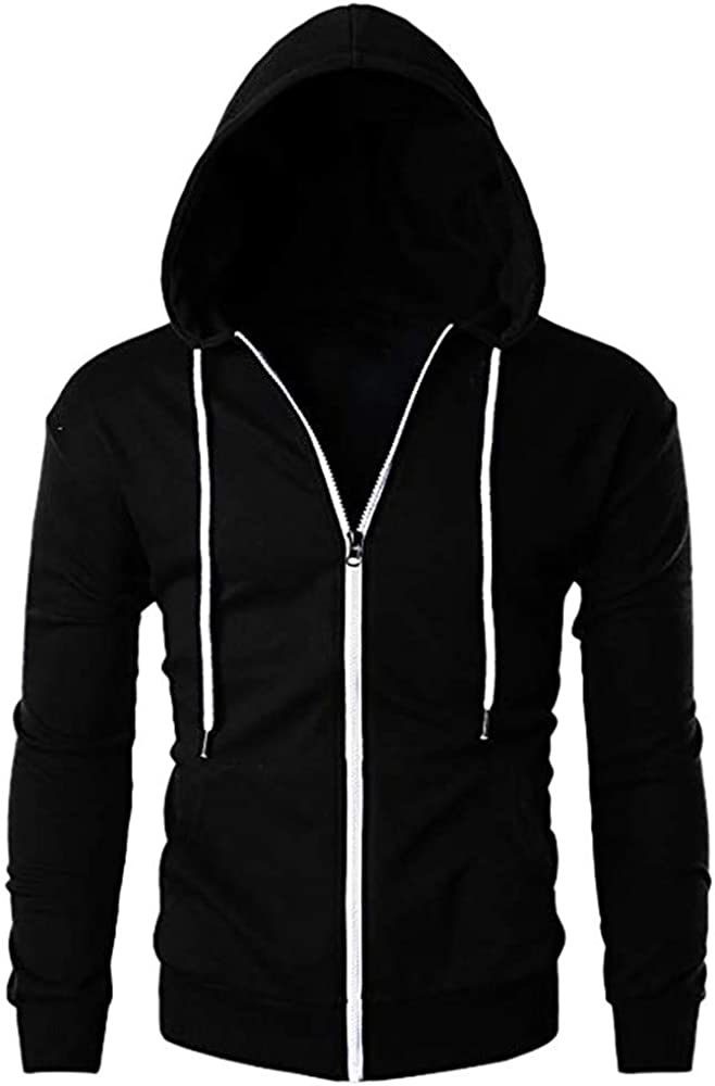Mens Hoodies Zip Up Workout Fall Sweatshirt Jackets with Front Pockets Outwear Hooded Jacket Coats