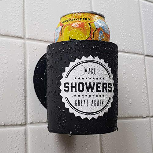 Keeps your beer ice cold in a steamy shower Sticks to the wall, frees your hands No suction cup - uses Industrial Velcro which is reliable for years Great for relaxing after a long work day Perfect before getting ready to go out for the night