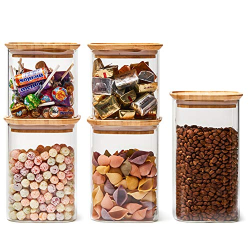 EZOWare Klar Stapelbar Glas Vorratsdosen, Vorratsgläser aus Borosilikatglas Küche Lebensmittel Lagerung Behälter mit Bambus Deckel - 5er Set, 700ml / 1000ml / 1300ml