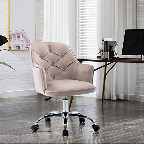 Henf Swivel Home Office Chair, Velvet Accent Leisure Chair Living Room Tufted Upholstered Chair, Height Adjustable Fabric Shell Chair with Metal Base for Bedroom Dresser, Gray