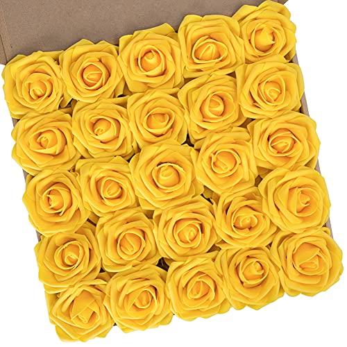 N&T NIETING Künstliche Rosen, 25 Stück echte Schaumstoff-Rosen mit Stielen für Hochzeit, Brautsträuße, Valentinstag, Muttertag, Babyparty, Heimdekoration, Gold