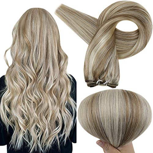 Full Shine Sew In Tied Weft Extensions 8 Ash Brown Highlights 60 Blonde Bundles Weft Hair Extensions Brazilian Real Human Hair Weaves 18 Inch Hair Double Weft Bundles 100 Grams