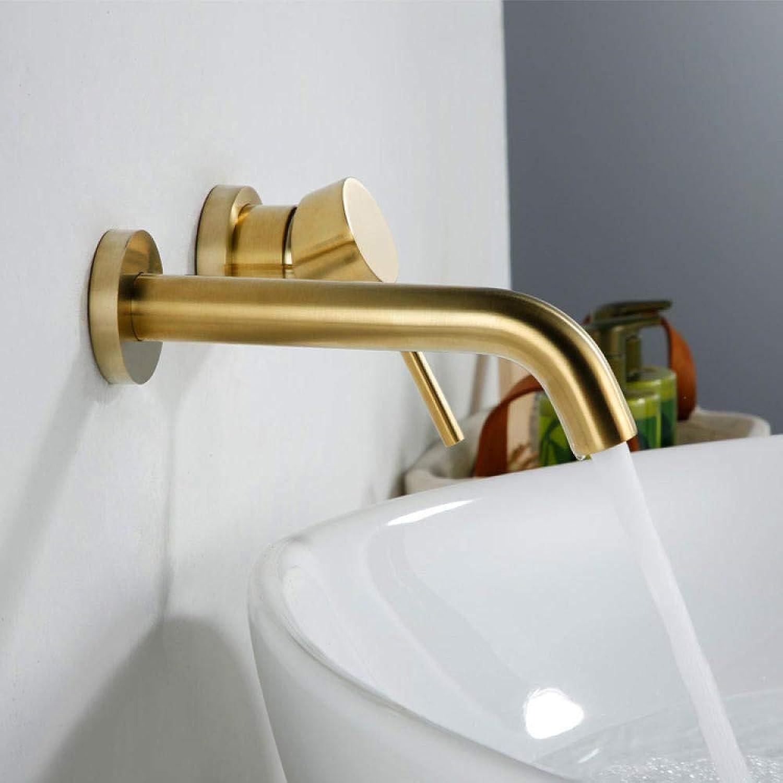 Homthing Waschbecken Wasserhahn Wand Moderne Badezimmer Hotel Wasserhahn heies und kaltes Wasser auf der Wand Waschbecken Wasserhahn Villa Gold gebürstet versteckt