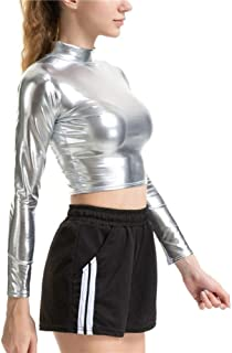 Women Liquid Metallic Long Sleeve Crop Top Punk Turtleneck Holographic T Shirt Cropped Tops for Rave Club Dance Mock Neck Shirt