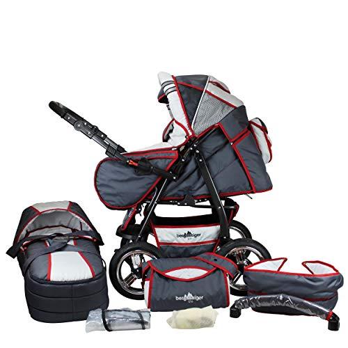 Bergsteiger Rio Kombikinderwagen + Softtragetasche + Wickeltasche (10 - Teile); Farbe: Grey & Red Stripes